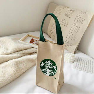 Starbucks Coffee - スターバックス ドリンク、小物入れトートバッグ きなり色
