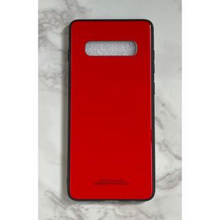 ギャラクシー(Galaxy)のシンプル 耐衝撃背面9Hガラスケース GalaxyS10Plus レッド 赤(Androidケース)