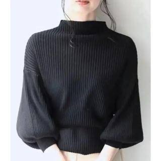 カワイイ(cawaii)の極美品 cawaii カワイイ 袖ポワンとオフネックのニットトップス ブラック(ニット/セーター)