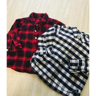 ムジルシリョウヒン(MUJI (無印良品))の無印良品 チェックシャツ 80 2枚セット(シャツ/カットソー)