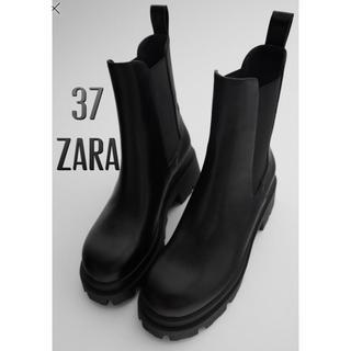ZARA - ZARA 新品 トラックソール付きローヒールアンクルブーツ ショートブーツ ザラ