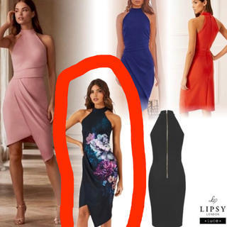 リプシー(Lipsy)のlipsy UK6 ホルターネックドレス(ひざ丈ワンピース)