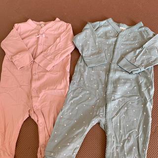 H&M - くすみ色 ロンパース2枚セット