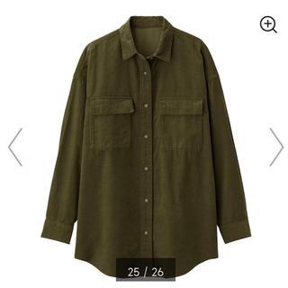 GU - コーデュロイオーバーサイズシャツ カーキ Mサイズ