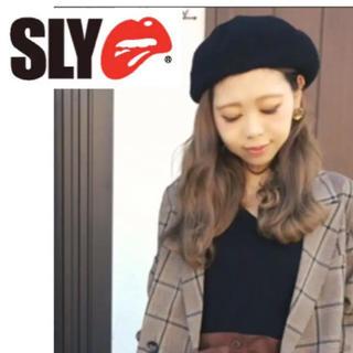 スライ(SLY)の新品タグ付き‼️ ♡ SLY ♡ スライ ベレー帽 ブラック (ハンチング/ベレー帽)