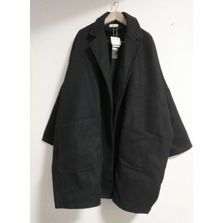 メルロー(merlot)の★新品タグ付き フィリル テーラード襟 ゆったりコート 黒(テーラードジャケット)