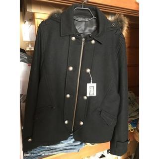 PPFM - 新品未使用タグ付★PPFM ピーコート風ファージャケット ブラック XLサイズ