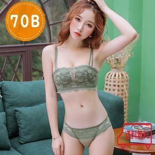 【水曜限定価格】ブラ&ショーツセット チューブトップにも! 70B 緑 グリーン(ブラ&ショーツセット)