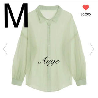 GU - GU シアーボリュームスリーブシャツ(長袖) ライトグリーン M