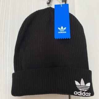 アディダス(adidas)のアディダスオリジナルス 新品 ニット帽 ピーニー 刺繍ロゴ ブラック?(ニット帽/ビーニー)