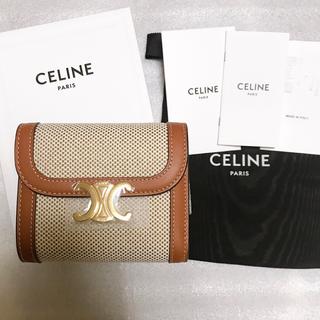 celine - セリーヌ スモール フラップウォレット / テキスタイル&ナチュラルカーフスキン
