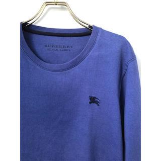 バーバリーブラックレーベル(BURBERRY BLACK LABEL)のバーバリーブラックレーベル ホースマーク刺繍 ノバチェック カットソー ブルー(Tシャツ/カットソー(七分/長袖))