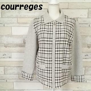 クレージュ(Courreges)の【人気】クレージュ チェック柄 ニットジャケット ジップ 折り返し袖 サイズ9R(ブルゾン)
