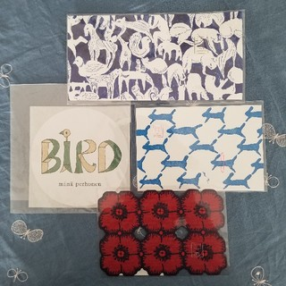 mina perhonen - ミナペルホネン/つづく展ポストカードと非売品birdステッカー4枚セット