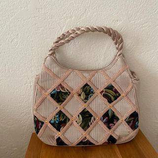ロキエ(Lochie)のvintageレトロ古着プリーツ光沢ゴブラン織刺繍パッチワークバッグ(ハンドバッグ)