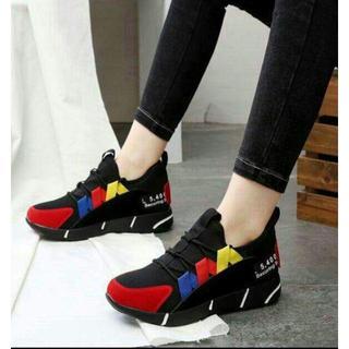 4厚底スニーカーレディース通学ローヒール旅行スポーツ靴美脚かわいい新品靴(スニーカー)