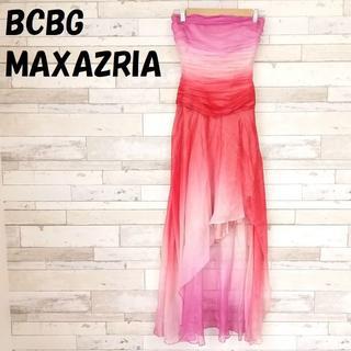 BCBGMAXAZRIA - 【人気】ビーシービージーマックスアズリア シルク混 ラメ混シフォンベアドレス