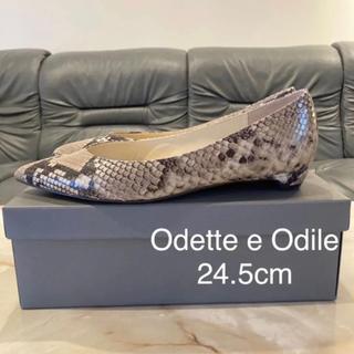 Odette e Odile - 【使用1回のみ】Odette e Odile パイソン柄 ポインテッドパンプス