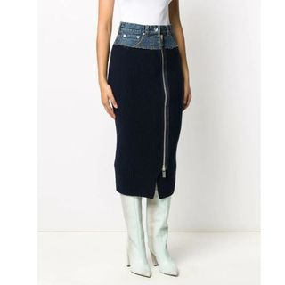 サカイ(sacai)のSacai ribbed-knit denim pencil skirt(ロングスカート)