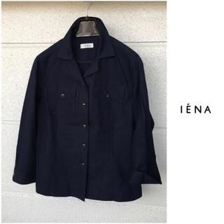 イエナ(IENA)のイエナ【洗える】コットン リネン 七分袖 紺 シャツ ジャケット 仕事 通勤(テーラードジャケット)