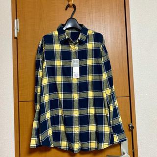 GU - 新品 GU ジーユー/フランネルチェックシャツ XL ネイビー ネルシャツ