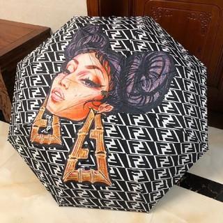FENDI - 人気品 Fendi フェンデイ 折りたたみ傘 ブラック 傘 日傘 雨傘 兼用