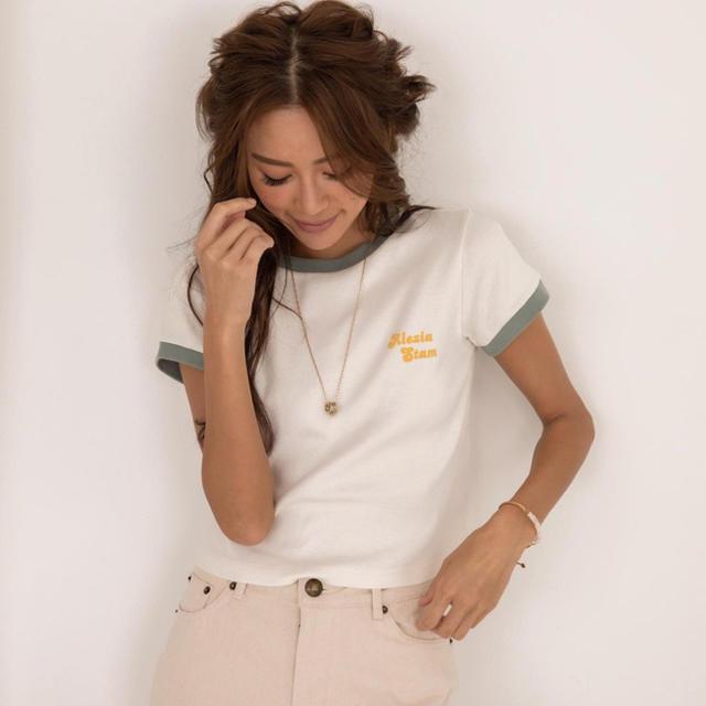 ALEXIA STAM(アリシアスタン)のALEXIASTAM Ringer Tee Tシャツ カーキ Mサイズ レディースのトップス(Tシャツ(半袖/袖なし))の商品写真