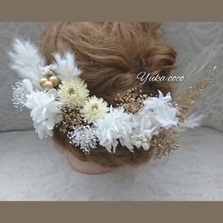 ドライフラワー ヘッドドレス 髪飾り❁︎成人式 結婚式 振袖 色打掛 白無垢(ヘッドドレス/ドレス)
