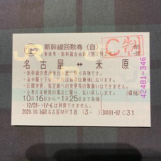 JR - 名古屋ー米原 乗車券・新幹線自由席1枚