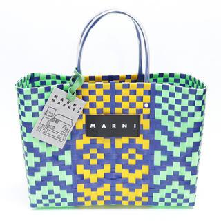 Marni - 新品 マルニ フラワーカフェ ピクニックバッグ 編み込み トートバッグ ジェイド