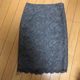 ボッシュ(BOSCH)のグレーベージュレーススカート(ひざ丈スカート)