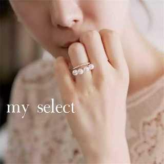 新品♪ 4連パール リング★CZダイヤ ★ローズゴールド フリー TASAKI(リング(指輪))