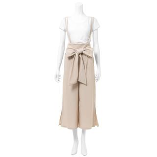 グレイル(GRL)のGRL ウエストリボンリップルワイドサロペット ベージュ 人気 韓国ファッション(オールインワン)