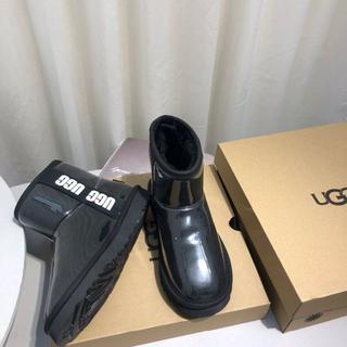 UGG - 23CM UGG CLASSIC CLEAR MINI レイン ブーツ ブラック