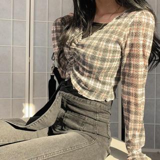OHOTORO - 【予約商品】チェック ねじれトップス 韓国ファッション 秋服