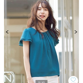 ニッセン(ニッセン)のブルーグリーン フリルカットソー  Tシャツ M(Tシャツ(半袖/袖なし))