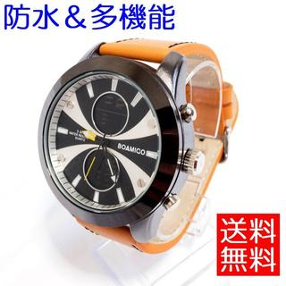 超特価⭐人気!海外限定 BOAMIGO 防水 革ベルト オレンジ(腕時計(デジタル))