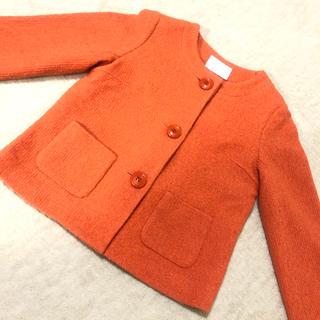 IENA - イエナ IENA ツイードジャケット ノーカラー オレンジ バックリボン コート