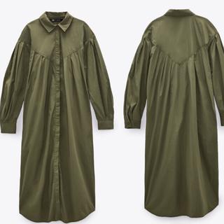 ザラ(ZARA)の新品未使用 ZARA オーバーサイズシャツジャケット 値札付き 新品(ロングワンピース/マキシワンピース)