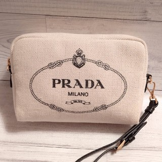PRADA - ☆美品☆ プラダ ストラップ付き ポーチ  キャンバス  バッグ 2020 SS
