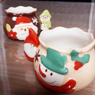 ケーキ用陶器カップ サンタクロース 雪だるま クリスマスケーキ(容器)