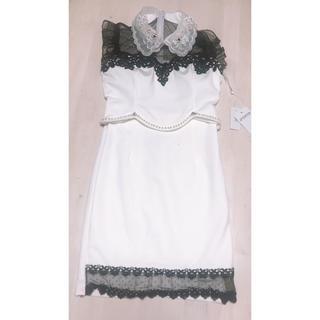 dazzy store - デイジーストア レース襟付きノースリーブモノトーンタイトミニドレス