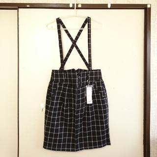 ローリーズファーム(LOWRYS FARM)の新品🔻ハイウエストチェック柄サス付 台形◆タイトスカートM 黒(ひざ丈スカート)