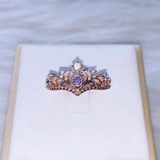 王冠 ティアラ風 リング 7号 パープルゴールド(リング(指輪))