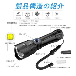 【2020最新進化版】KENSUN 懐中電灯 led 超強力 ハンディライト