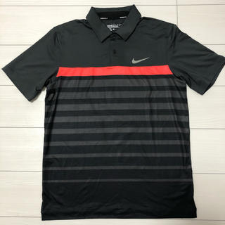 NIKE - 未使用 ナイキゴルフ 濃いめグレー ボーダー柄 ドライ生地 ポロシャツ