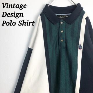 ヴィンテージ ポロシャツ マルチストライプ 刺繍ロゴ 裏起毛 クレイジーパターン
