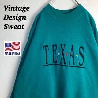 90s 古着 ヴィンテージ スウェット 刺繍ロゴ デカロゴ テキサス 星 裏起毛(スウェット)