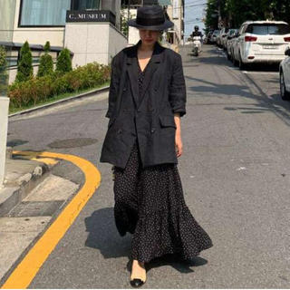 SALE‼ 新品♪ ドット柄ワンピース 袖裾フリル ロングワンピース(ロングワンピース/マキシワンピース)