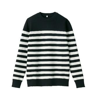 ムジルシリョウヒン(MUJI (無印良品))の新品/無印良品/コットンシルクガーター編みクルーネックセーター/M/黒×白(ニット/セーター)